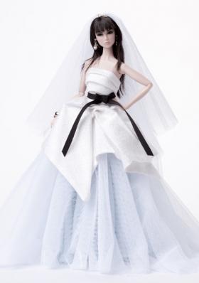 White Prom Barbie Doll Dress with Black Sash