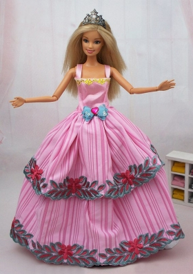 Colorful Appliques Barbie Dolls Bowknot Dress for Quinces