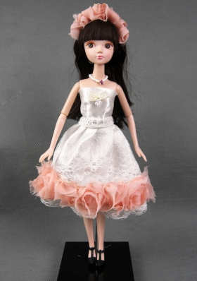 White Tulle Ruffled Lace Prom Barbie Doll Dress
