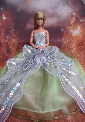 Green Sequins Prom Barbie Doll Dresses
