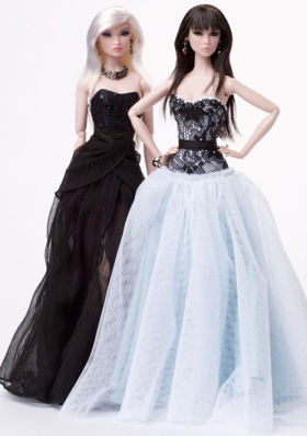 Quinceanera Barbie Doll Dress Floor Length in White and Black