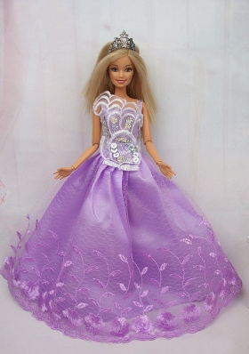 Lilac Lace Handmade Clothes for Quinceanera Barbie Dolls