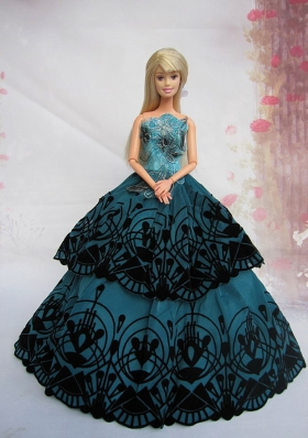 Turqoise Appliques Ball Gown Dress For Noble Barbie