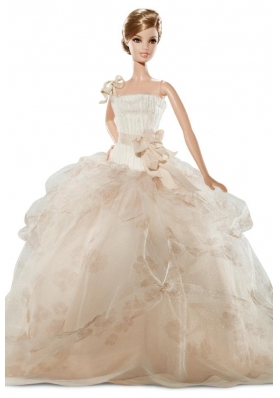 Champagne Ruffled Gowns for Noble Barbie