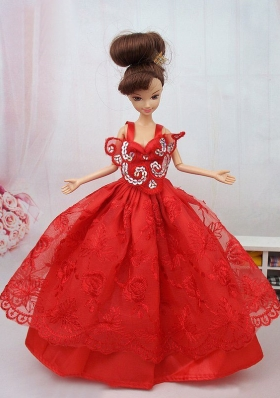 Ball Gown Red Lace Clothes for Noble Barbie
