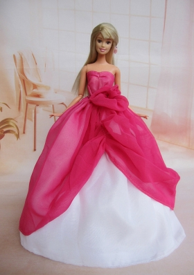 Sweetheart Hot Pink Ruffled Barbie Doll Dress