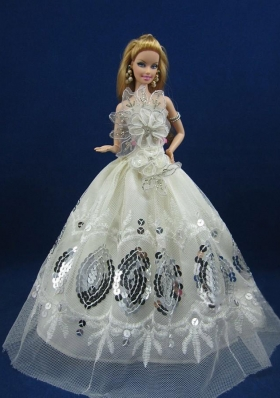 White Sequins Appliques Barbie Doll Dress