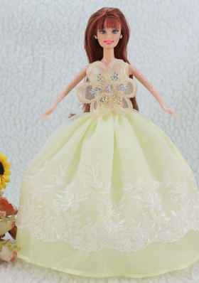 Embroidery Yellow Green Ball Gown Barbie Doll Dress