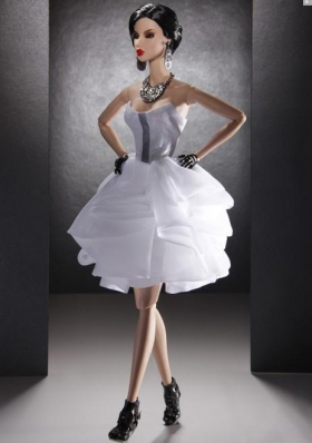 Mini-length White Prom Barbie Doll Dresses