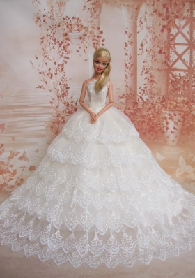 Lace Sweep Train Wedding Dress for Barbie Dolls