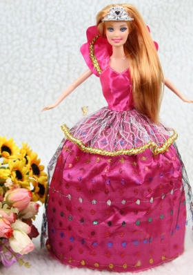 Hot Pink Ball Gown Clothes For Nobel Barbie