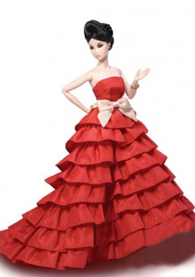 Red Ruffled Party Dress for Barbie Doll
