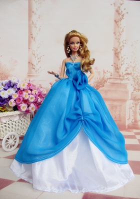 Ruffled Ball Gown Blue Dresses for Barbie Doll