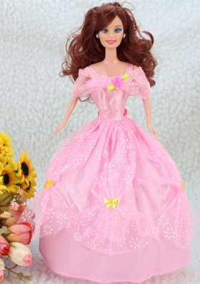 Pink Off-Shoulder Prom Barbie Doll Dress