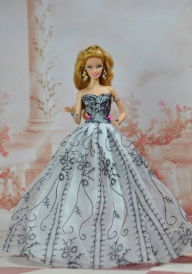 Organza Quinceanera Appliques Barbie Doll Dress