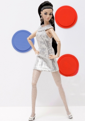 Sheath Fitted Beading Grey Barbie Doll Dresses