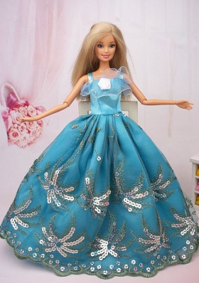 Teal Ball Gown Sequins Barbie Doll Dress