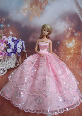 Pink Sequin Ruffled Gown For Barbie Doll