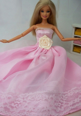 Lace Pink Barbie Doll Dress for Sweet 16