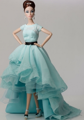 High-low Blue Organza Ruffles Barbie Doll Dress