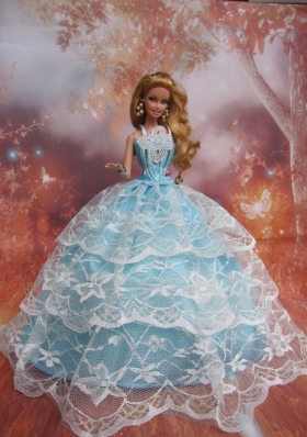 Light Blu Straps Lace Barbie Doll Dress for Quince