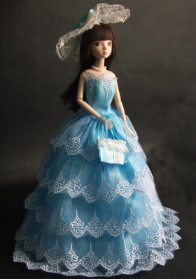 Baby Blue Party Dress for Barbie Doll for Prom