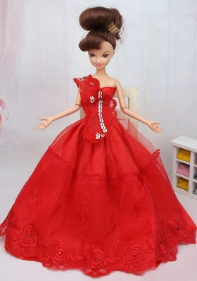 Red One-shoulder Barbie Doll Dress Quinceanera
