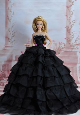 Black Ruffled Sequins Quinceanera Barbie Doll Dress