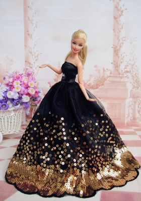 Black and Gold Sequins Barbie Doll Dress Quince