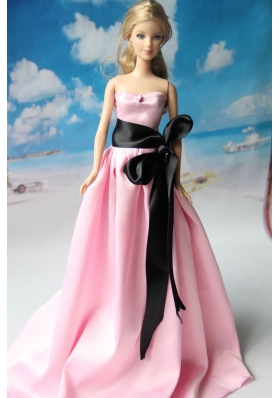 Pink Wedding Dress With Sash For Barbie Doll Dress