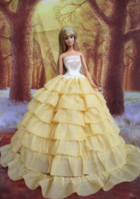 Light Yellow Barbie Doll Dress Ruffled Layers Organza
