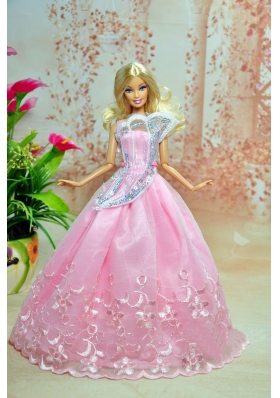 light Pink Embroidery organza Party Dress For Barbie Doll
