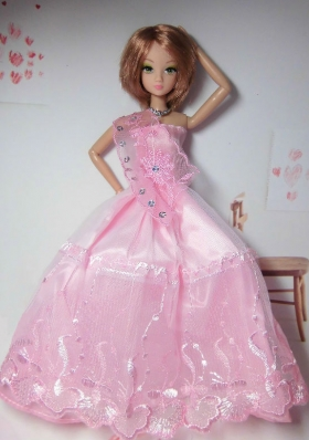 Baby Pink Tulle Dress for Barbie Doll Applique Ball Gown