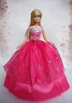 Hot Pink Beading Ball Gown Organza Applique Barbie Doll Dress