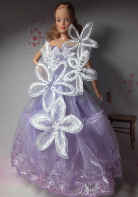 Party Clothes for Barbie Doll Lilac Hand Made Flower Tulle