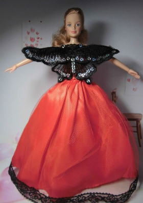 Party Clothes for Noble Barbie Doll Red and Black Butterfly