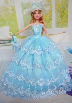 Baby Blue Layered Tulle Party Clothes for Noble Barbie Doll