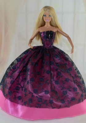 Ball Gown Barbie Doll Dress Hot Pink and Black Lace