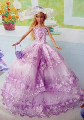 Fuchsia Layered Party Clothes for Barbie Doll Organza