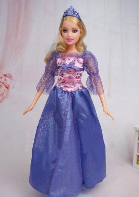 Elegant Blue Long Sleeves Printed Sequin Barbie Doll Gown