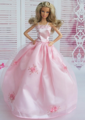 Pink Embroidery Lace Neckline Ball Gown Barbie Doll Dress