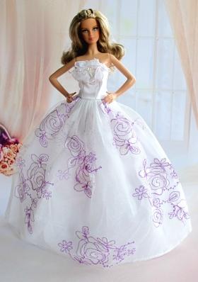 Embroidery White Taffeta Ball Gown Barbie Doll Dress