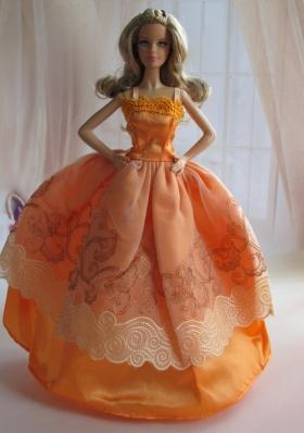 Ball Gown Orange Applique Straps Barbie Doll Dress