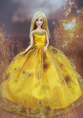 Beading Gold Ball Gown Organza Applique Barbie Doll Dress
