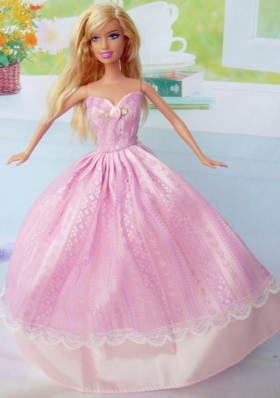 Cute Sweetheart Pink Taffeta Party Clothes for Barbie Doll