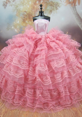 Pink Lace Ruffled Layers Ball Gown Barbie Doll Dress
