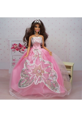 Ball Gown Pink Sequined Party Clothes for Barbie Doll