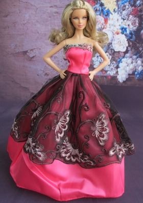 Embroidery Ball Gown Hot Pink and Black Barbie Doll Dress