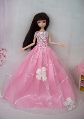 Embroidery Pink Princess Lace Floor Length Barbie Doll Dress