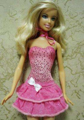 Beading Sweet Short Hot Pink Bowknot Barbie Doll Dress